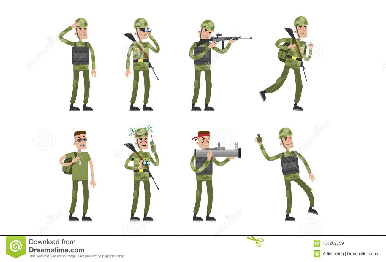 Isolated soldier set.