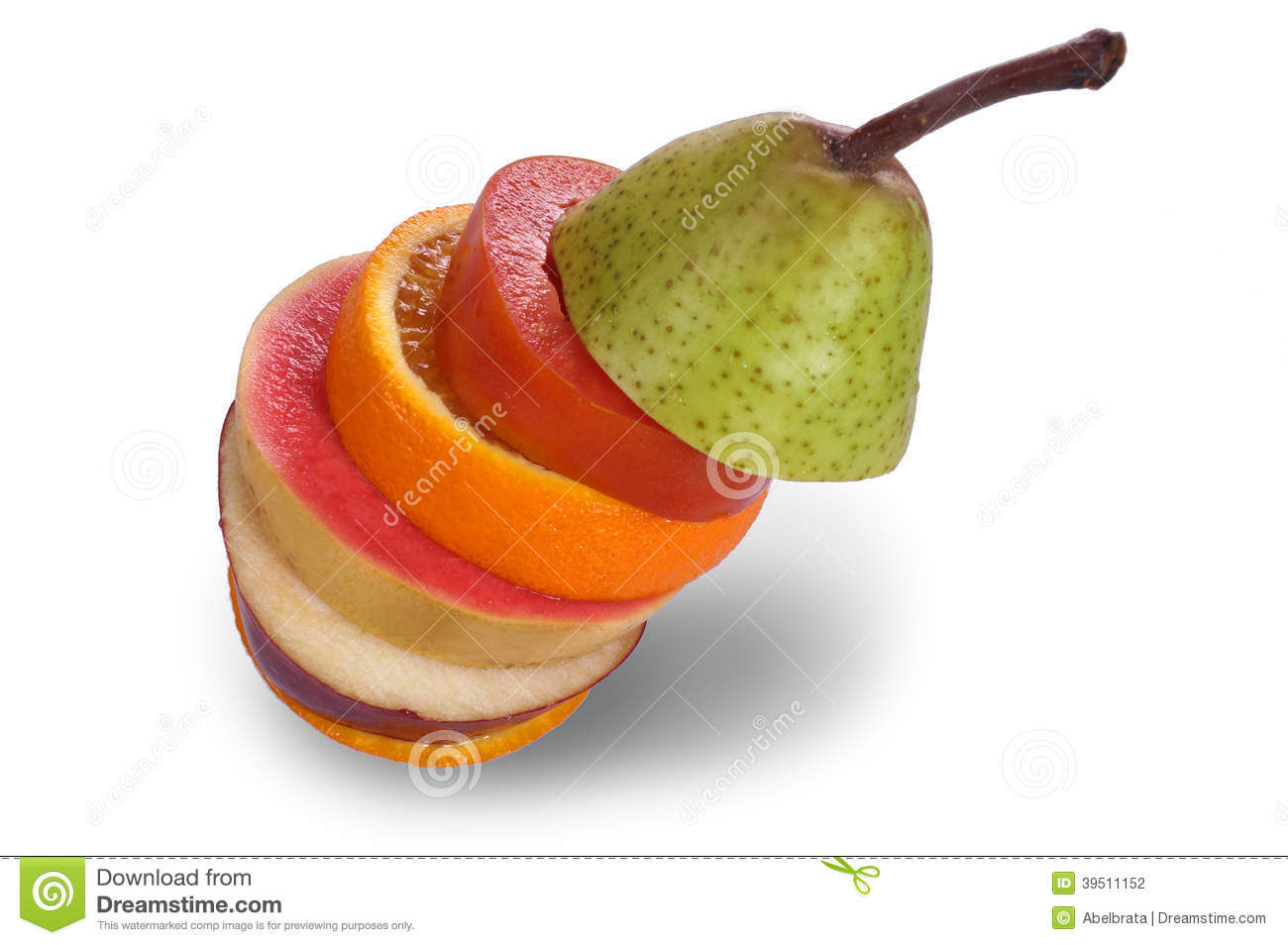 Isolated Stacked Slices of Fruits