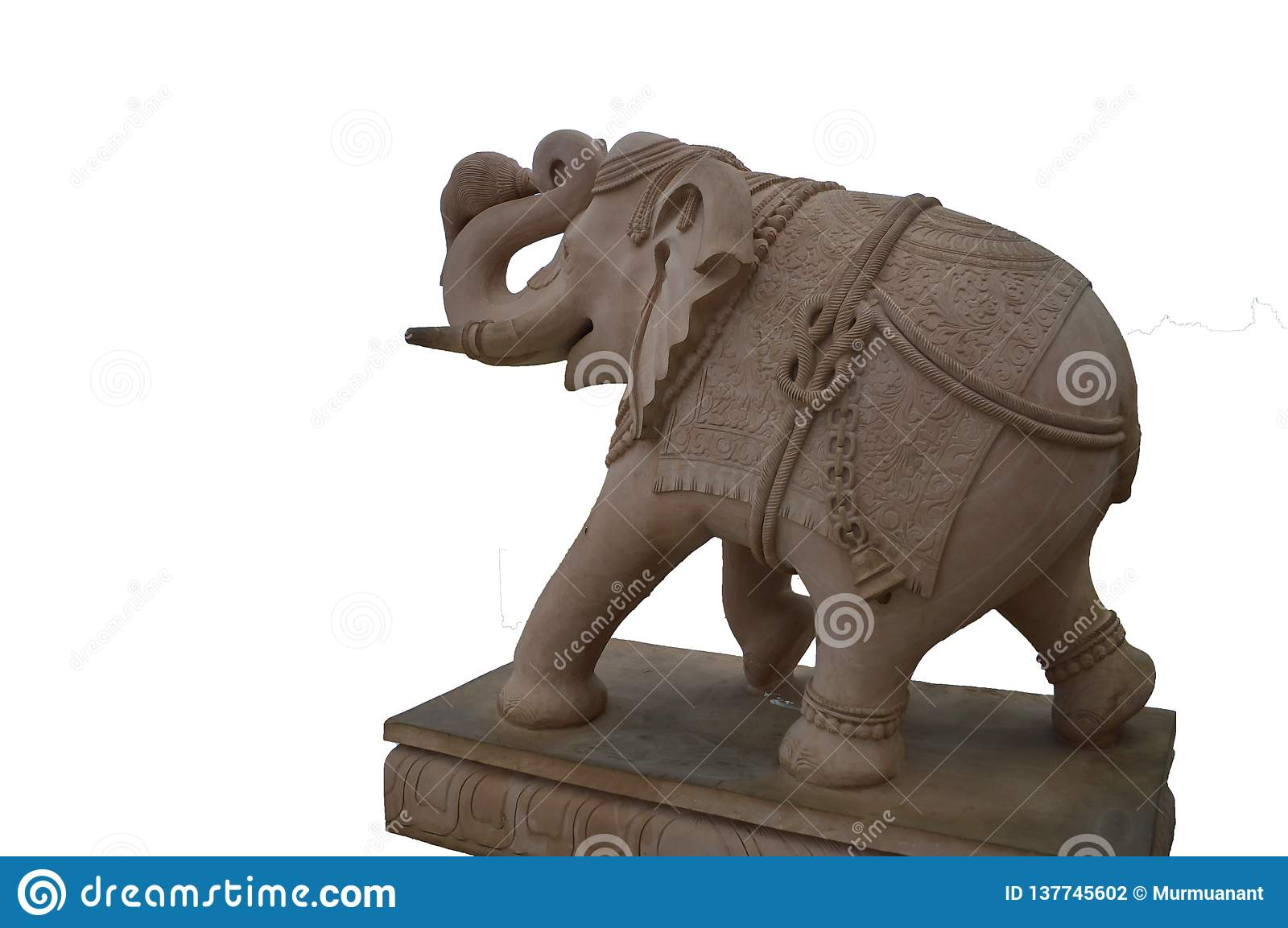 Elephant statue isolated on a white background