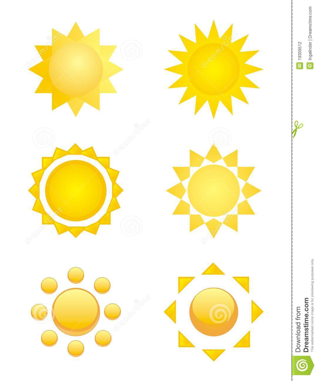 Isolated Sun Symbols Logo Clip Art Or Icon Stock
