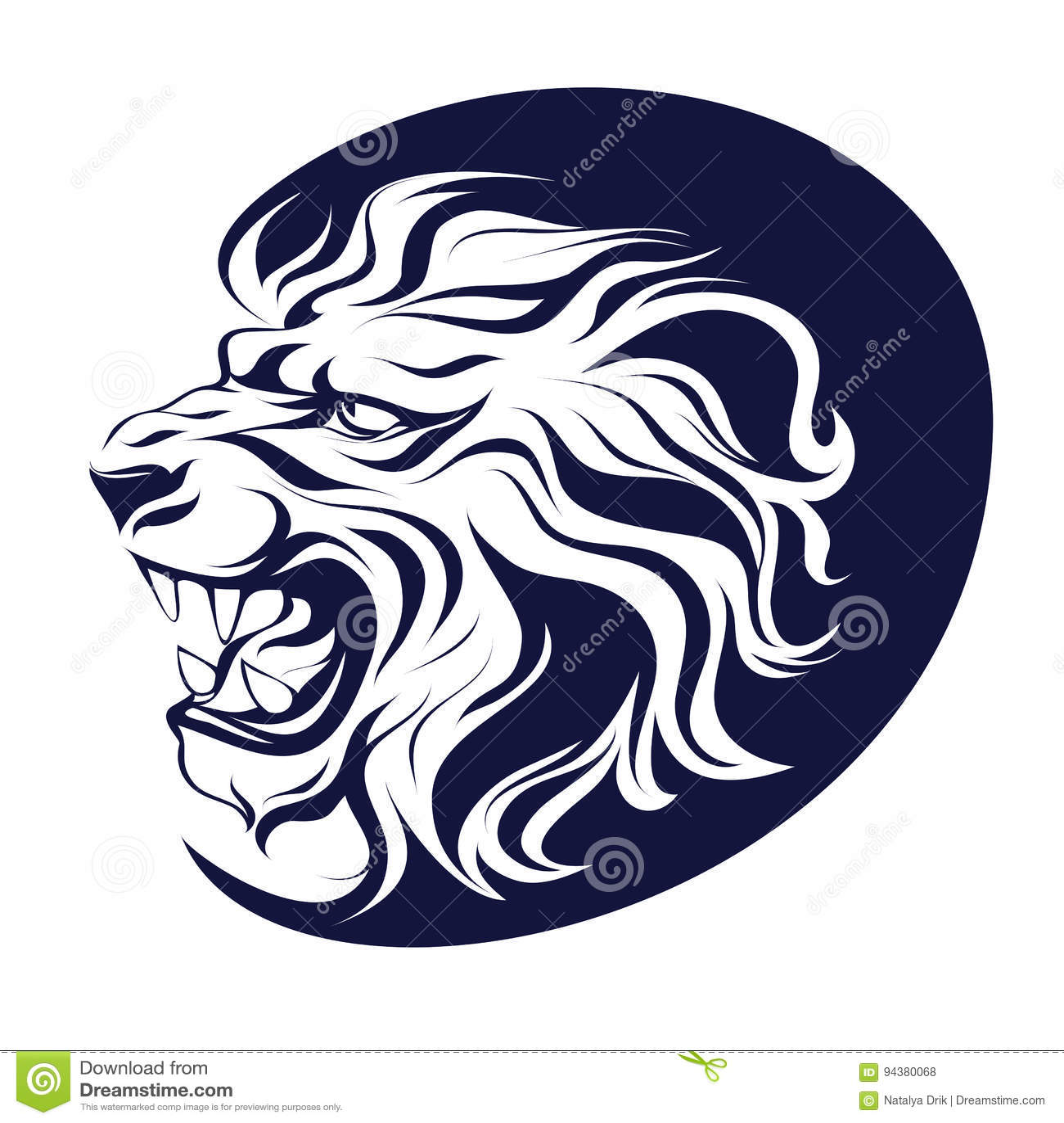 Roaring Lion Profile Tattoo Growling Cartoo...