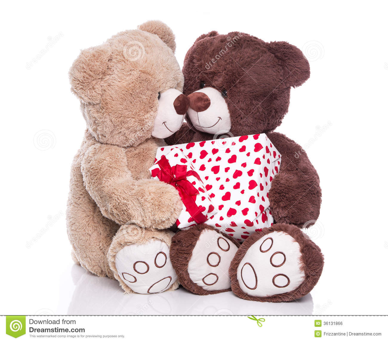 Isolated Teddy Bears With A Gift Box For Valentine.