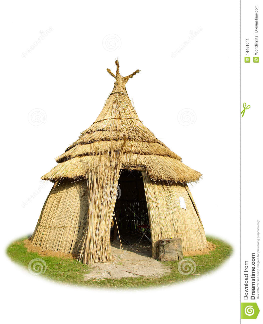 White background isolated picture of African thatched hut made of ...