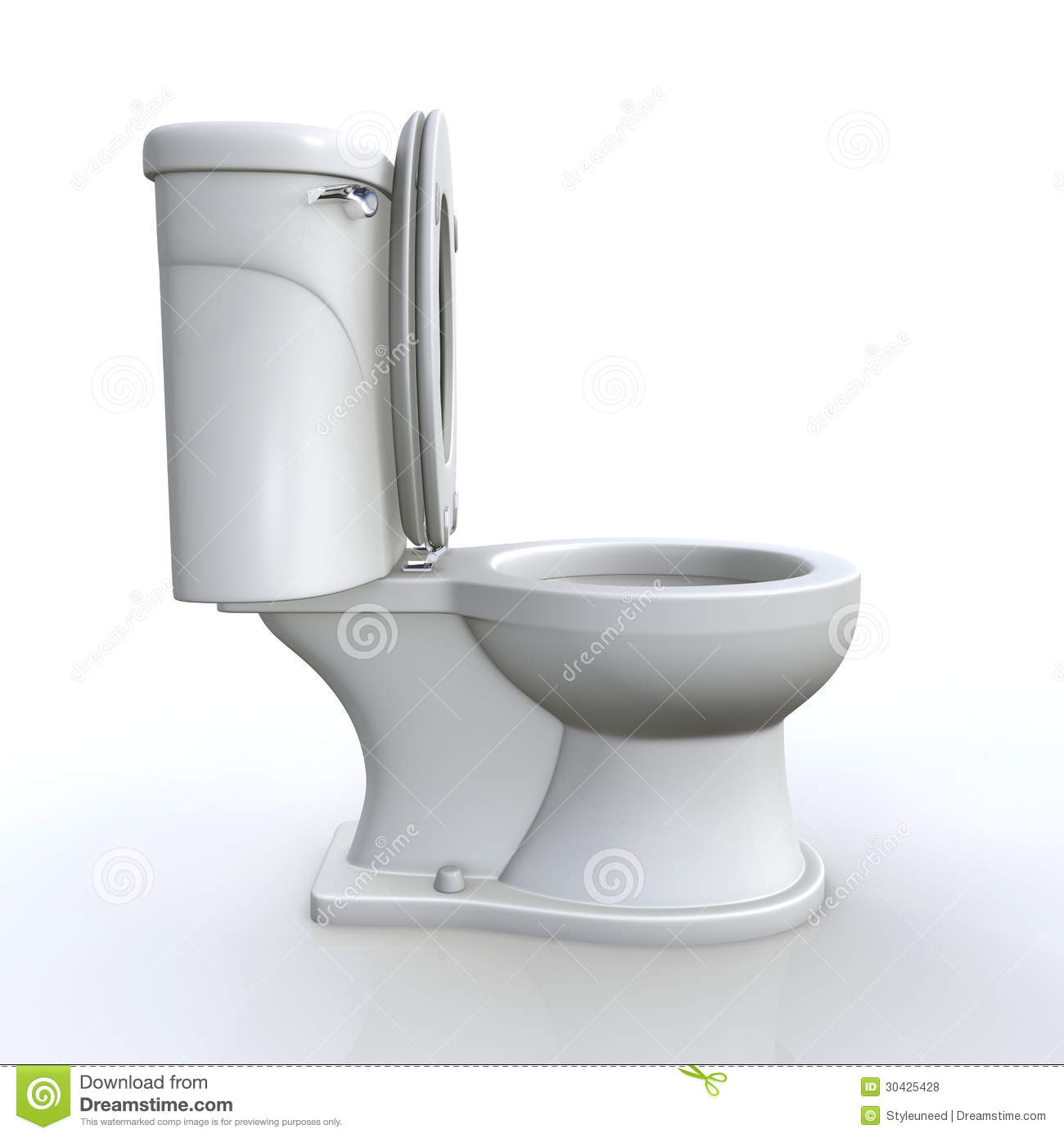 Illustration of a white open toilet, isolated on white. Side view.