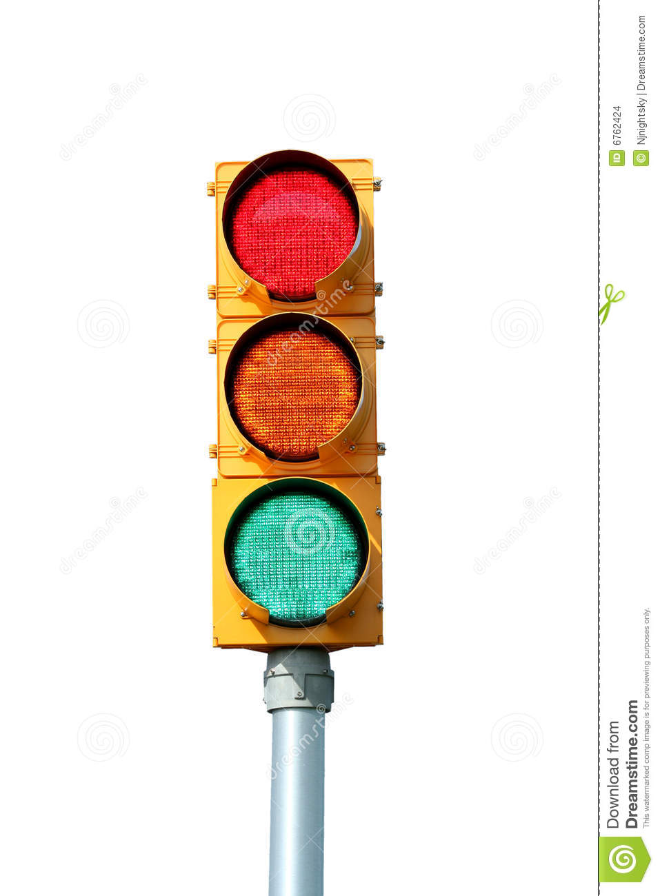 Isolated Traffic Signal Light Stock Images - Image: 6762424