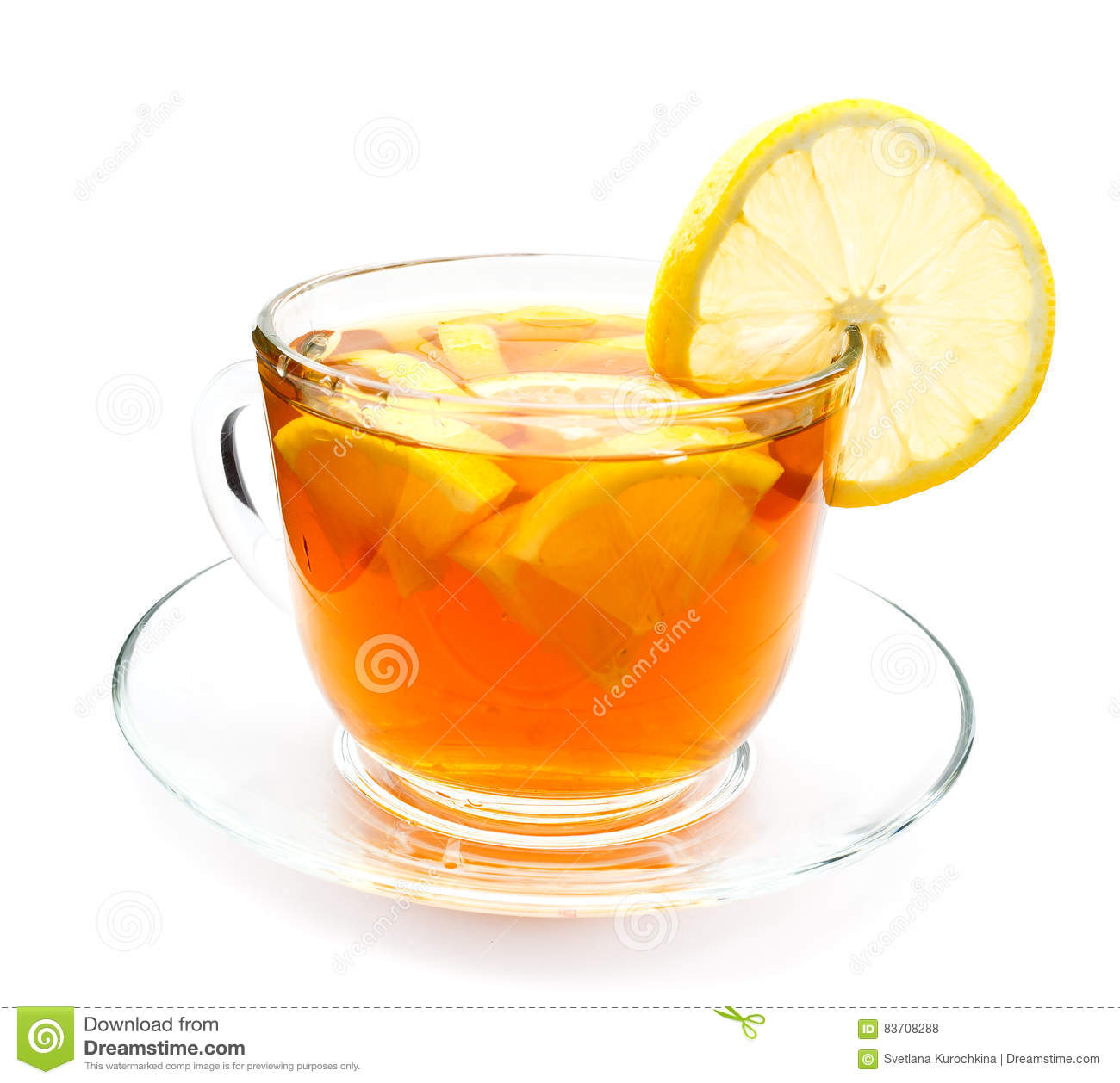 isolated transparent cup of tea with lemon slice stock photo image