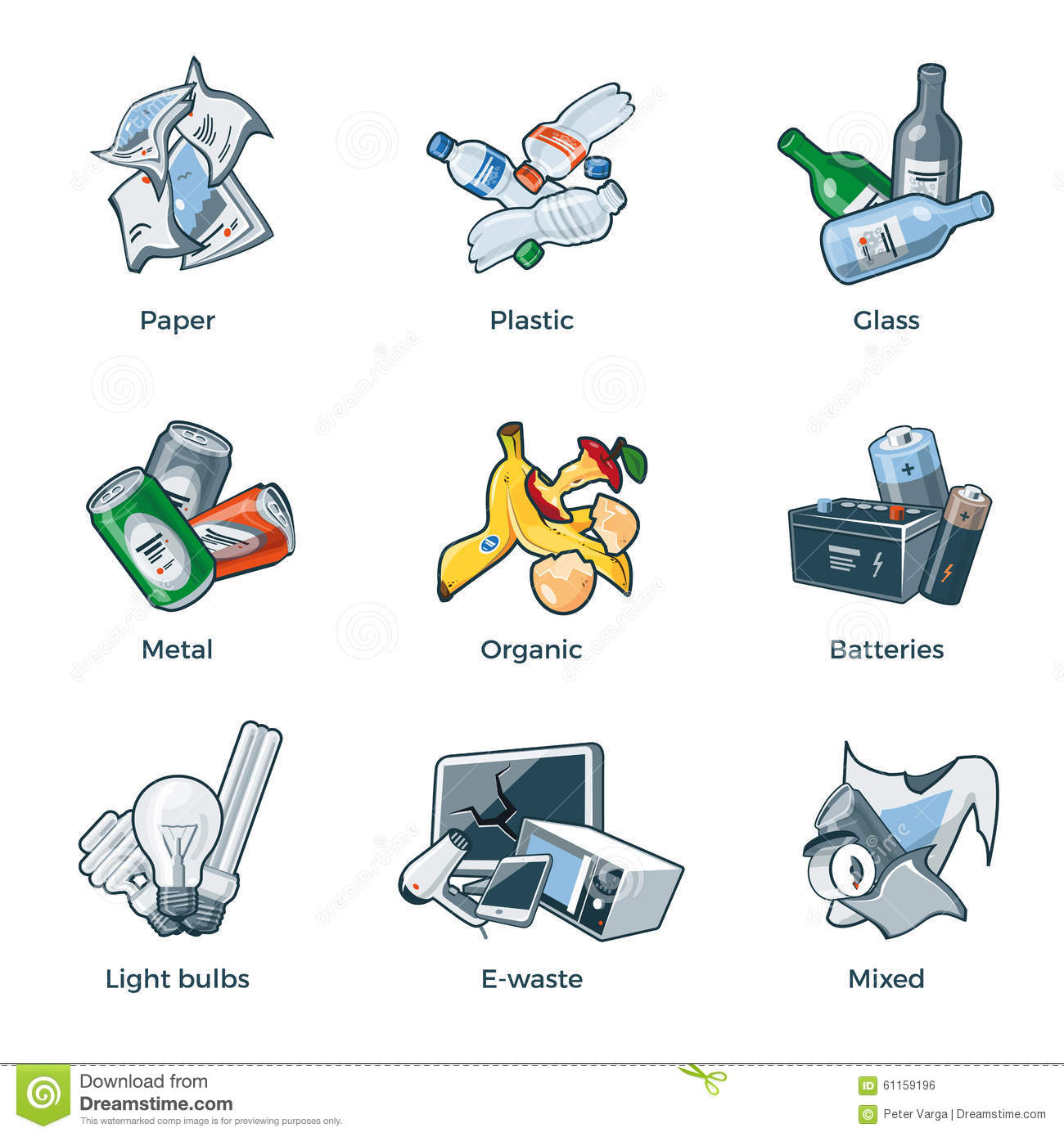 Isolated Trash Waste Recycling Categories Types Stock Vector - Image ...