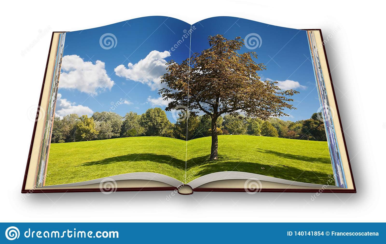 Isolated tree in a green meadow - Opened photobook on white background - I`m the copyright owner of the images used in this 3D