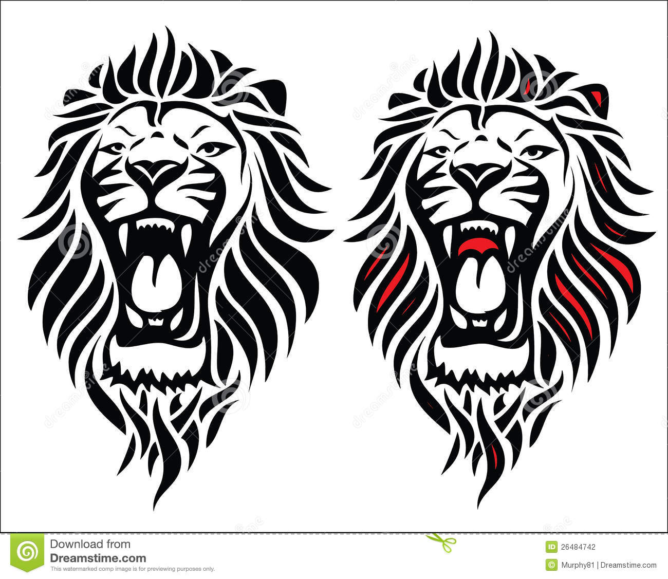 Isolated Tribal Lion Tattoo Stock Photography Image 26484742
