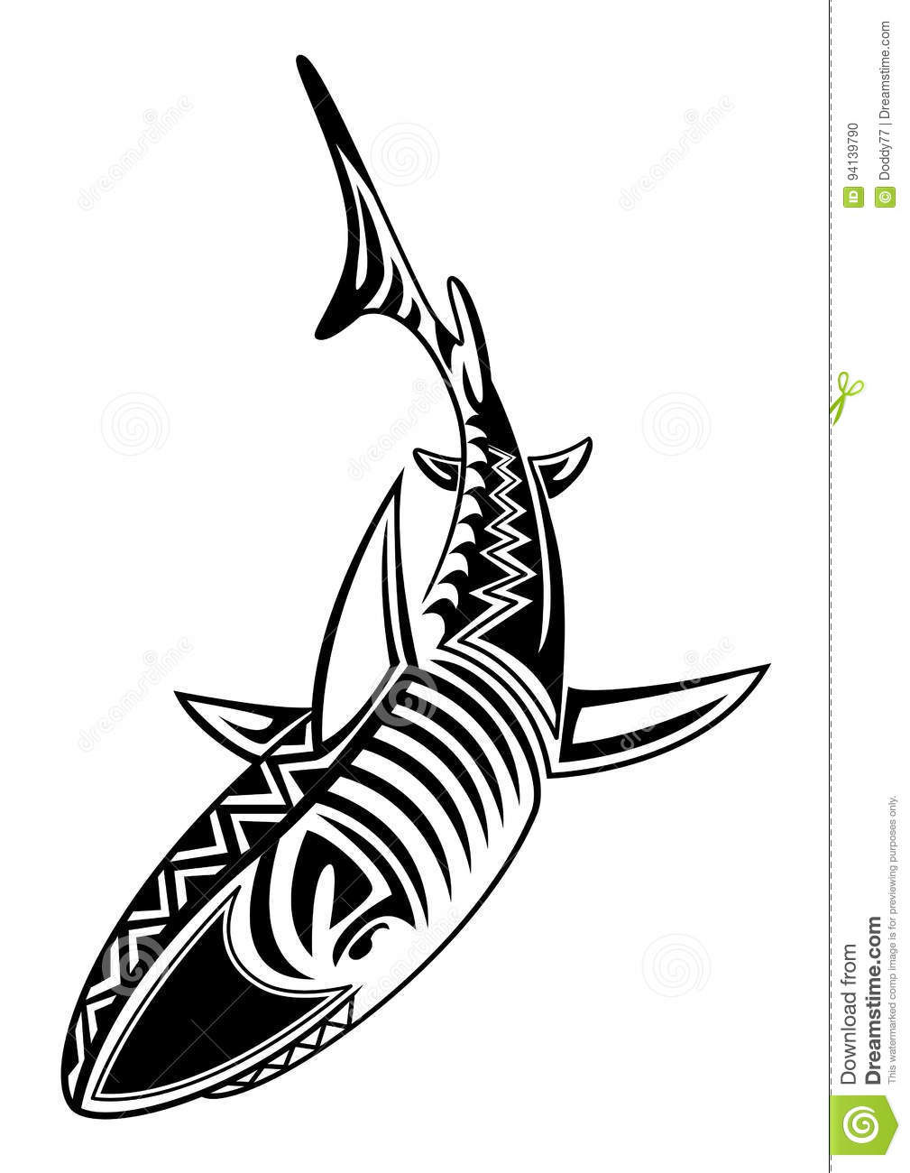 dd3b888ca Isolated Tribal Tattoo Shark Fish Stock Illustration - Illustration ...