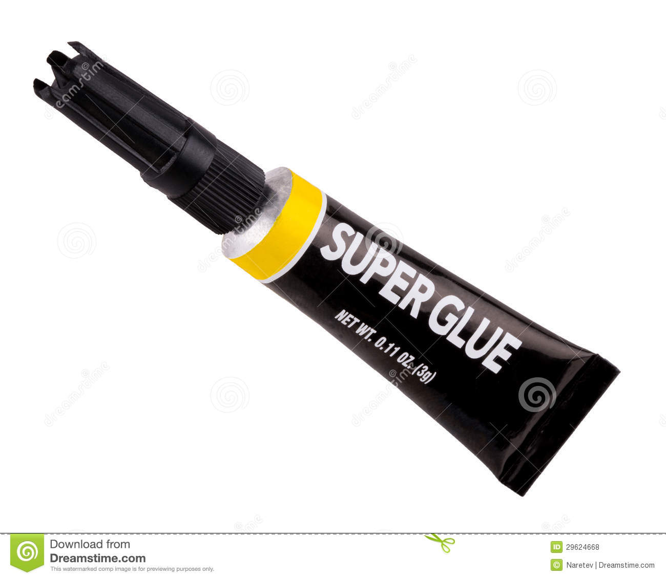 An isolated tube of super glue with a yellow band around the top ...