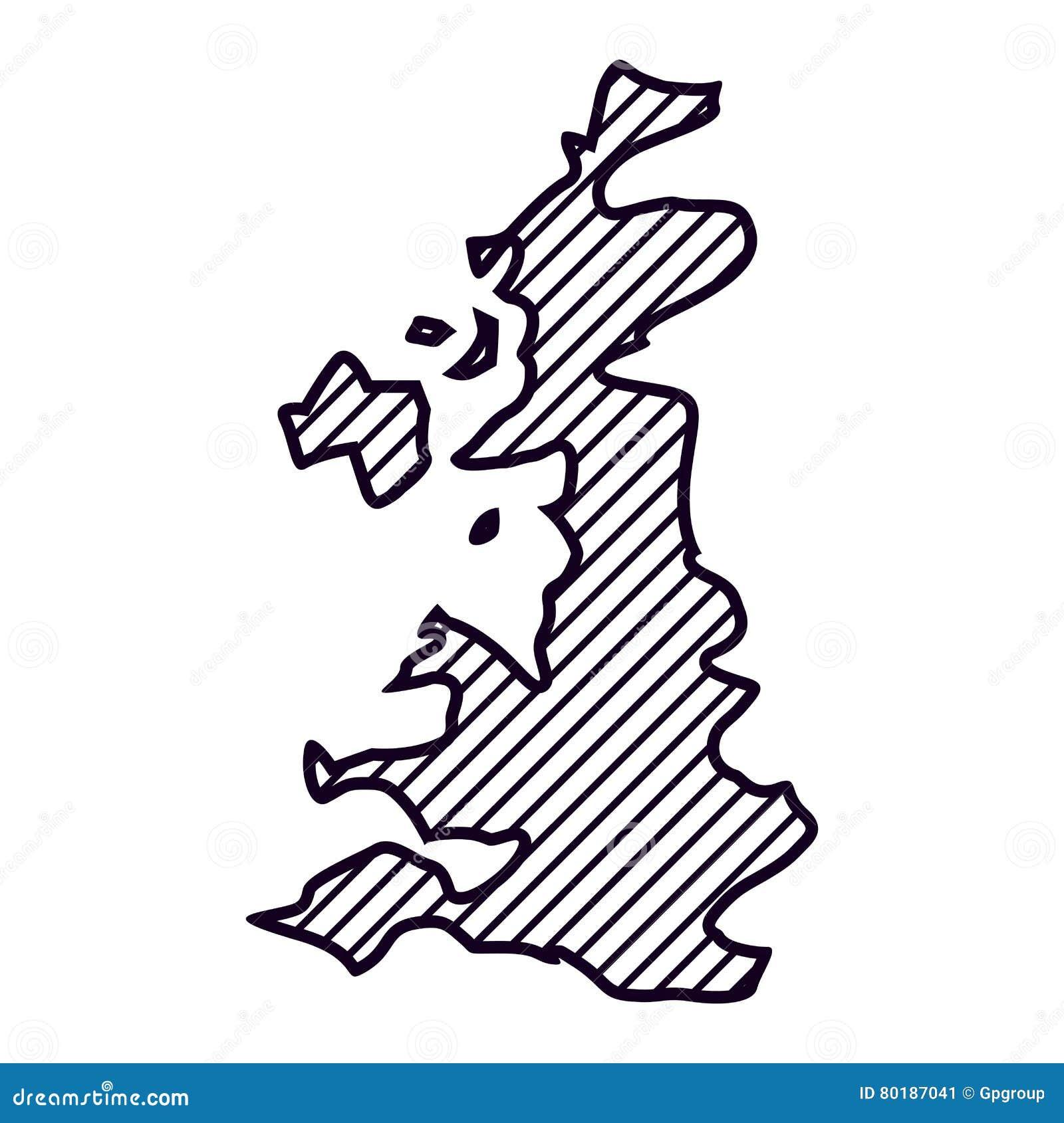 Isolated United Kingdom Map Design Stock Illustration ...