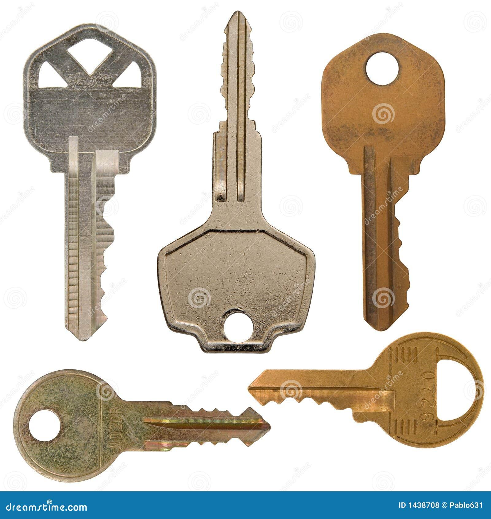 Isolated Various Metal Keys Royalty Free Stock Photos