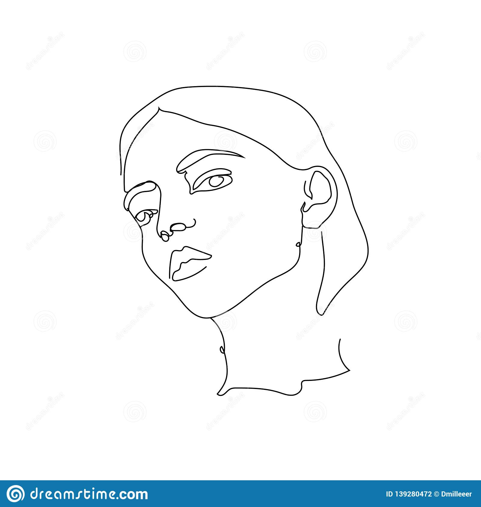 Isolated vector hand drawn woman one line abstract sketch lines drawing
