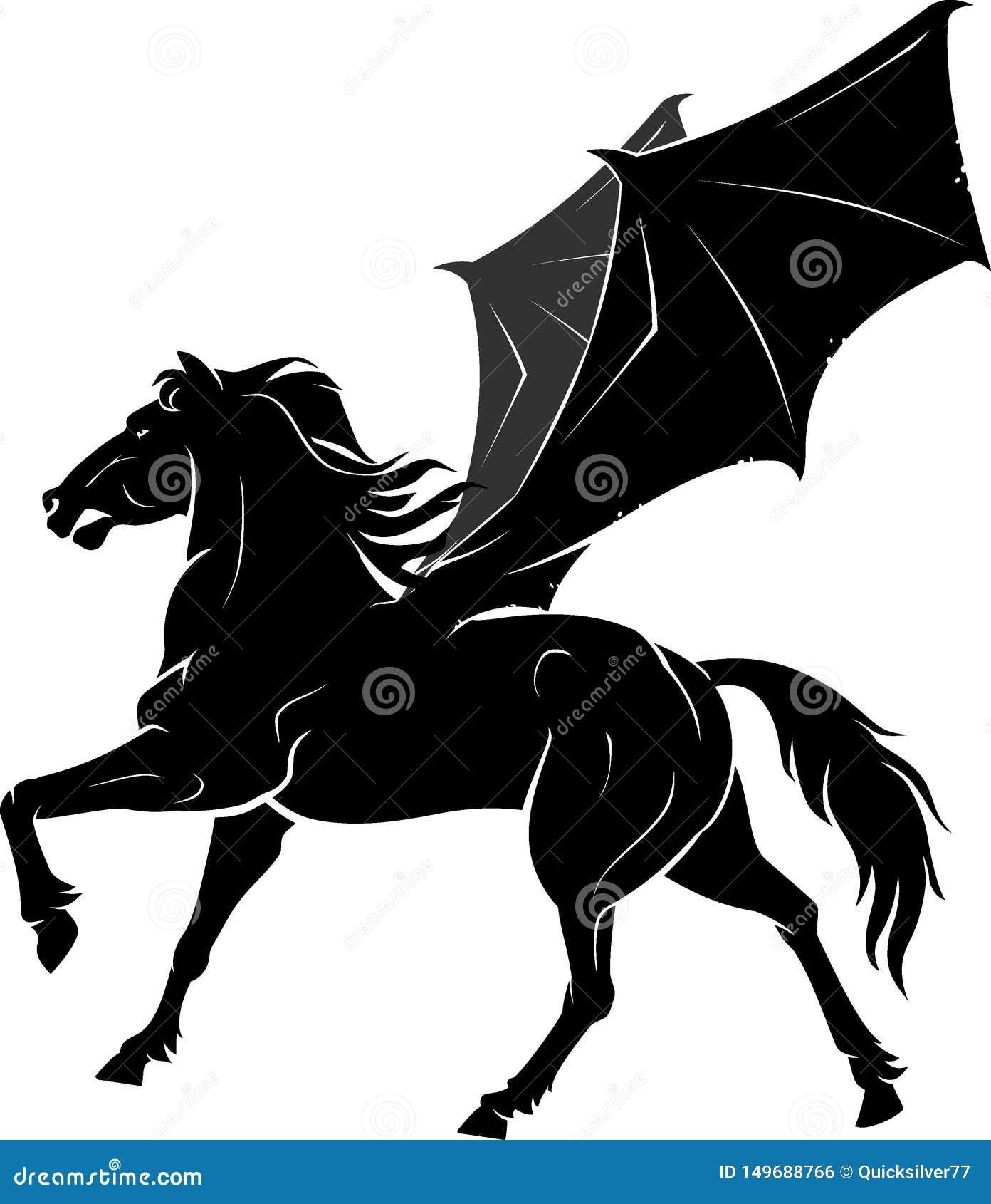 Black Horse With Fictional Bat Wings Stock Illustration Illustration Of Logo Beautiful 149688766