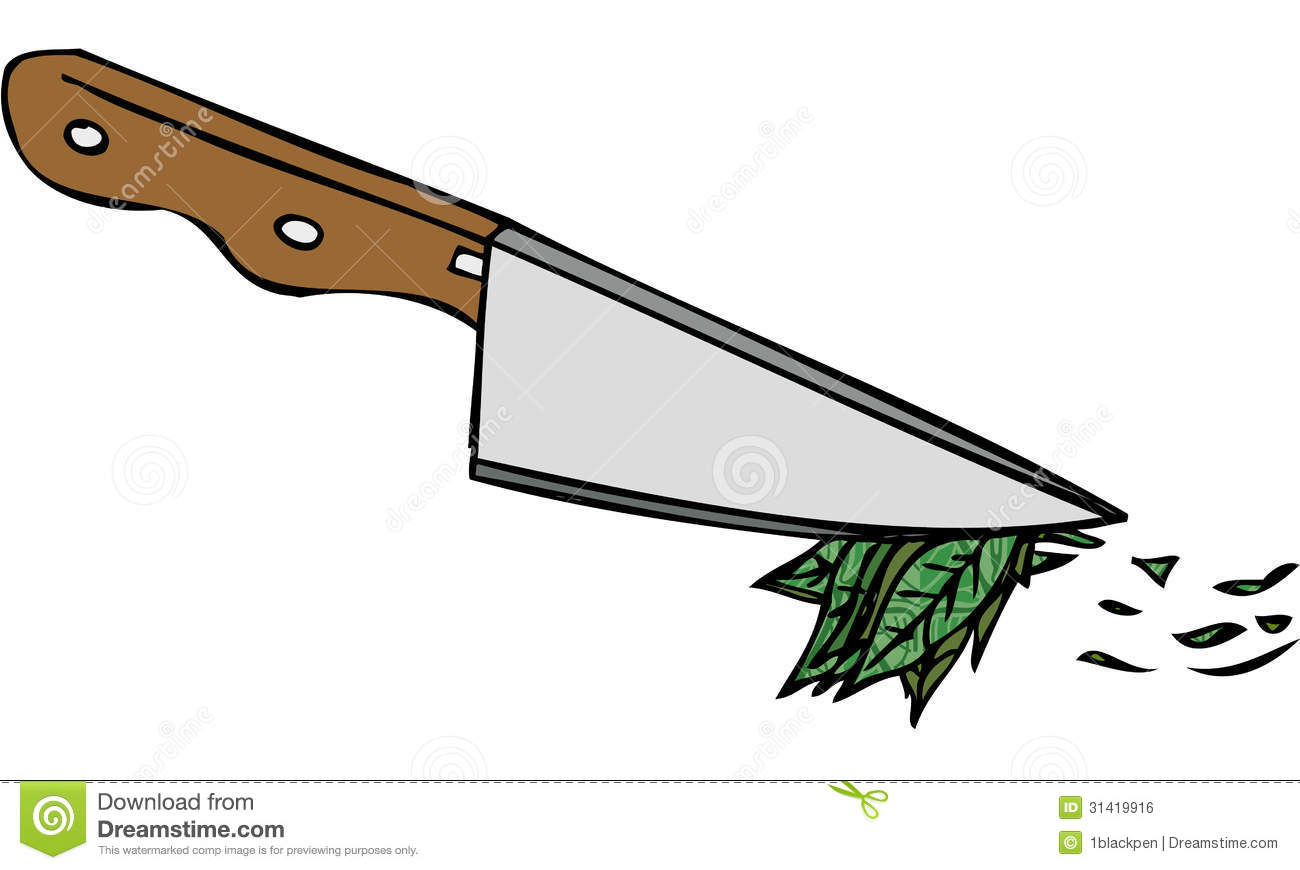Cake Knife Clipart : Isolated Vector Illustration Of Kitchen Knife Chopping ...