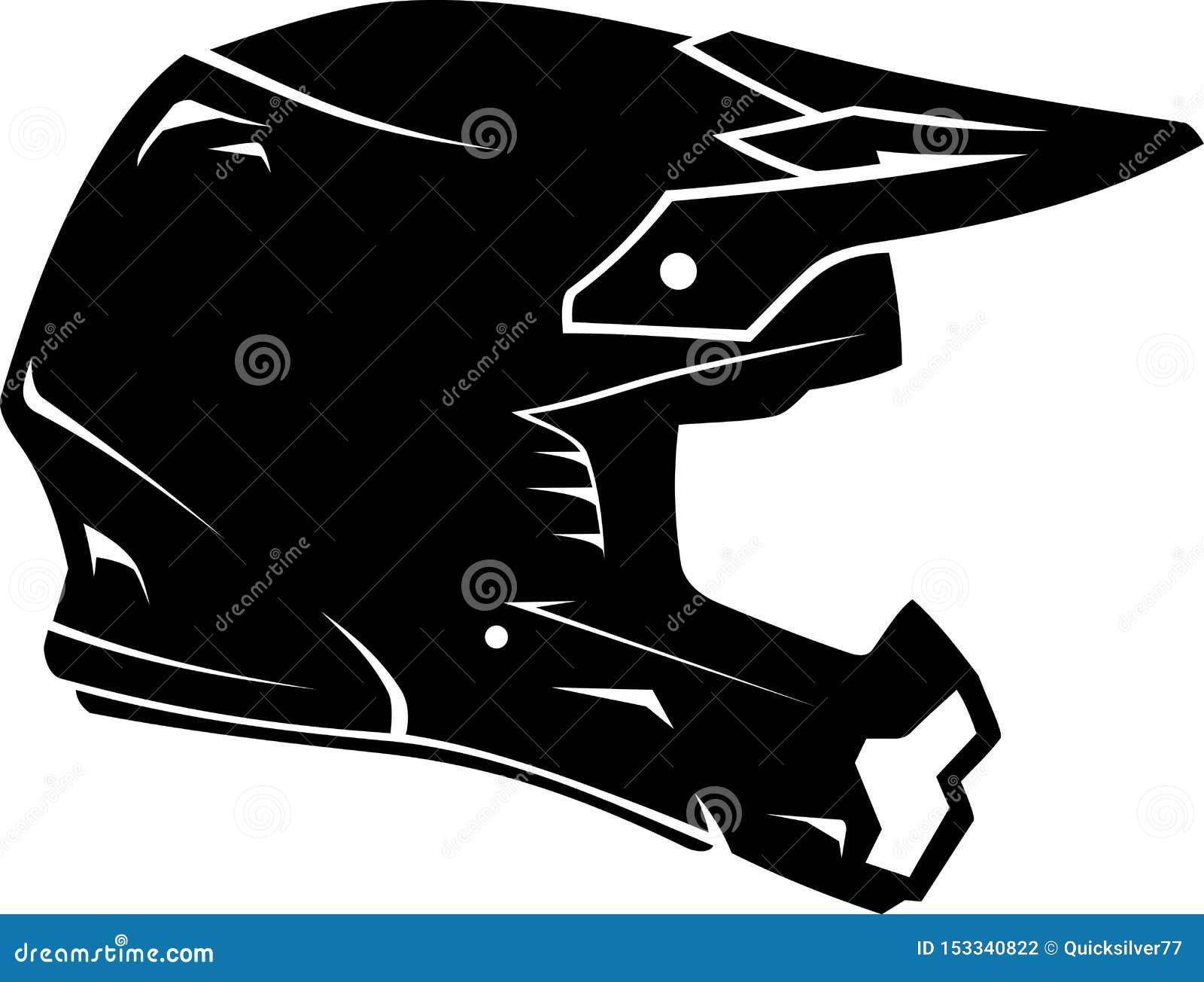 Dirt Bike Helmet Silhouette Stock Vector Illustration Of Object Gear 153340822
