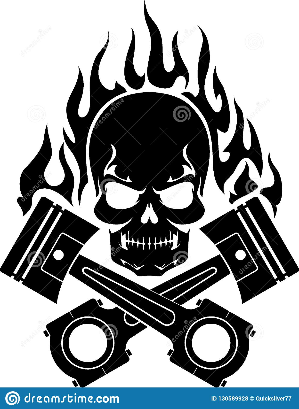 97835cfda59a4 Isolated vector illustration of Silhouette Skull and crossed piston with  abstract flame. More similar stock illustrations