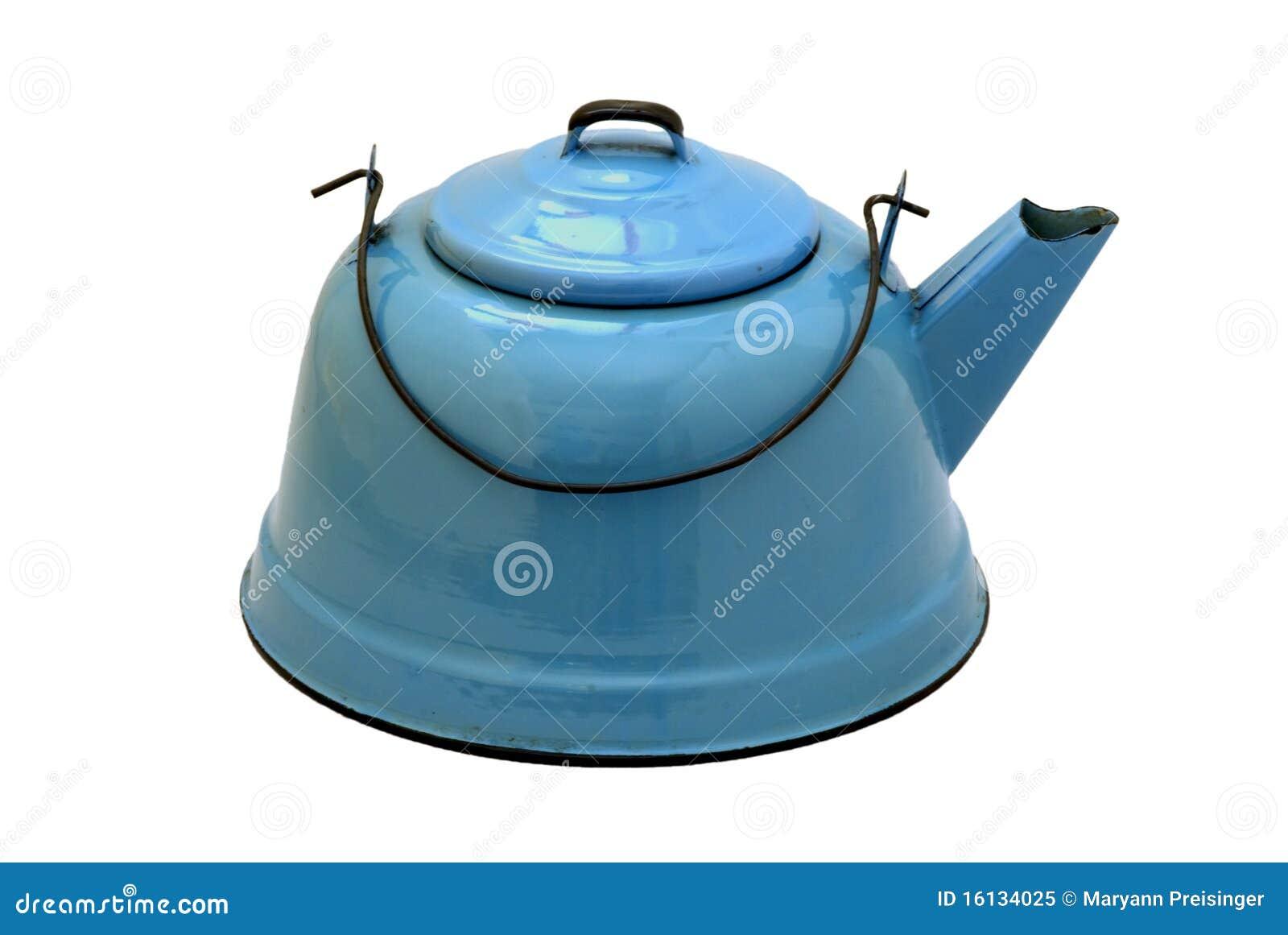 Isolated Vintage Blue Enamel Teakettle Stock Image - Image of water ...