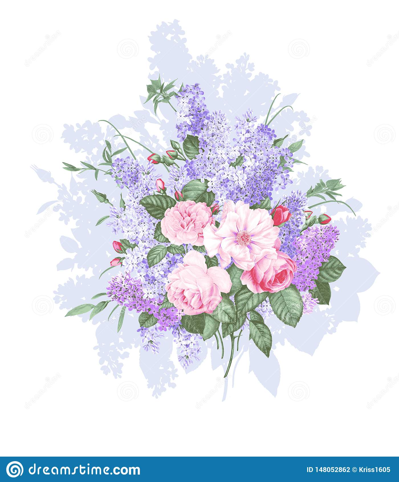 Isolated vintage bouquet on white background