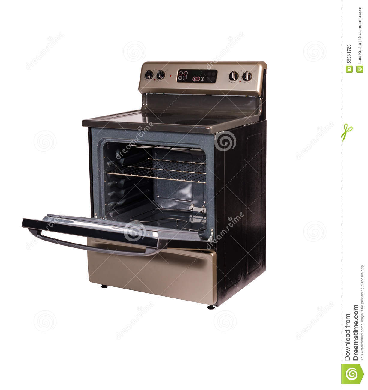 Open Oven In Kitchen: Isolated Vitroceramic Stove Oven Door Open Stock Image