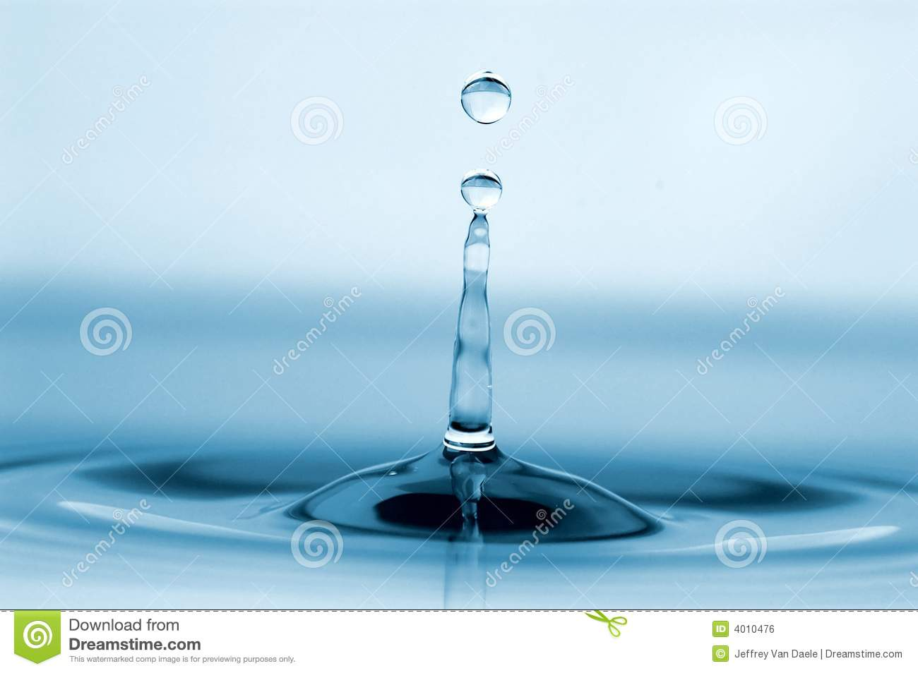Isolated water drop and tower of water