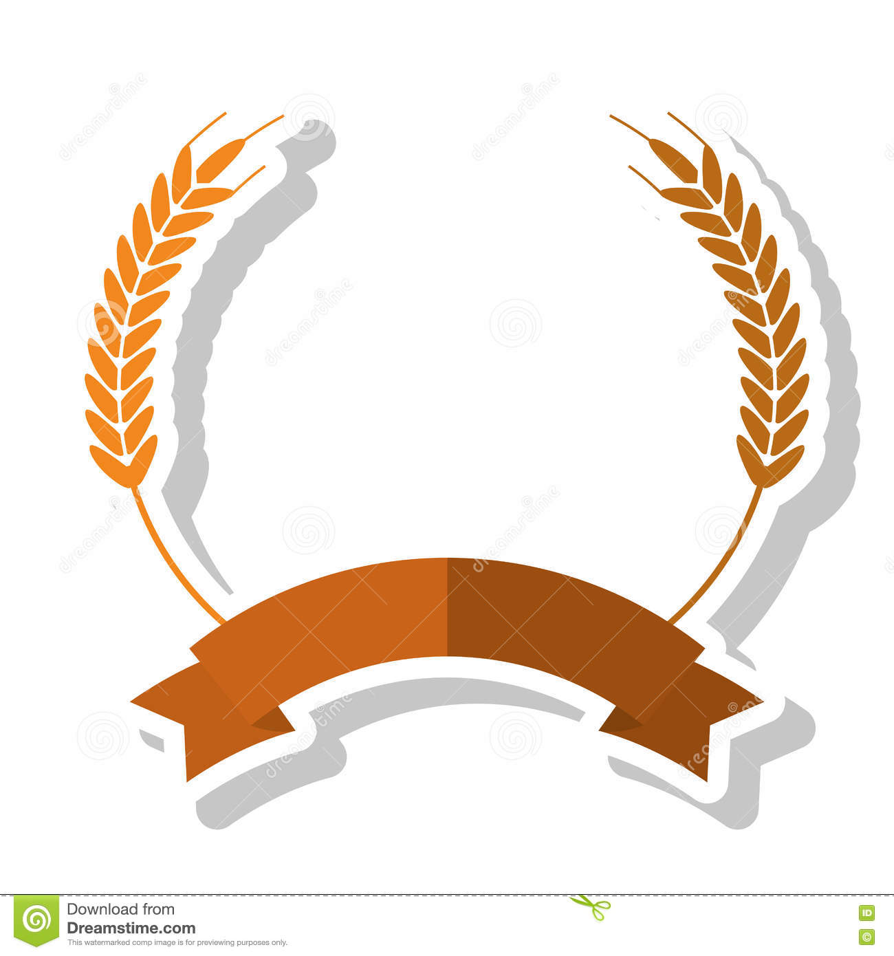 Isolated Wheat Ear With Ribbon Design Stock Vector Illustration