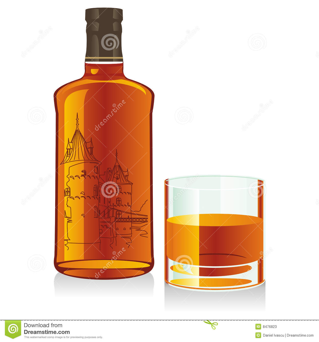 Whiskey Bottle And A Whiskey Glass Royalty Free Stock ... |Whisky Bottle With Glass