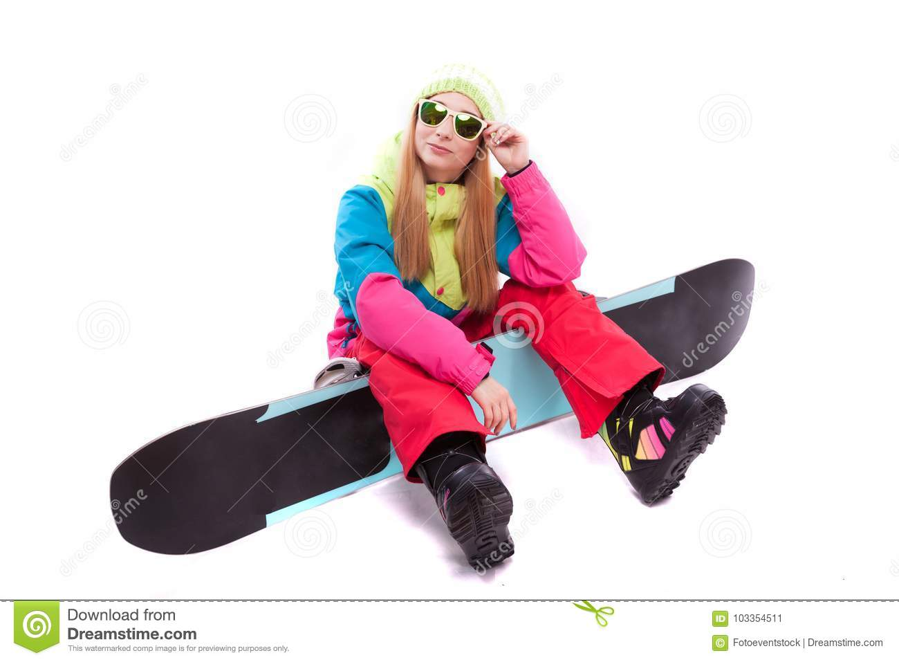 969d29137c Pretty Young Woman In Ski Outfit And Sunglasses Hold Snowboard Stock ...
