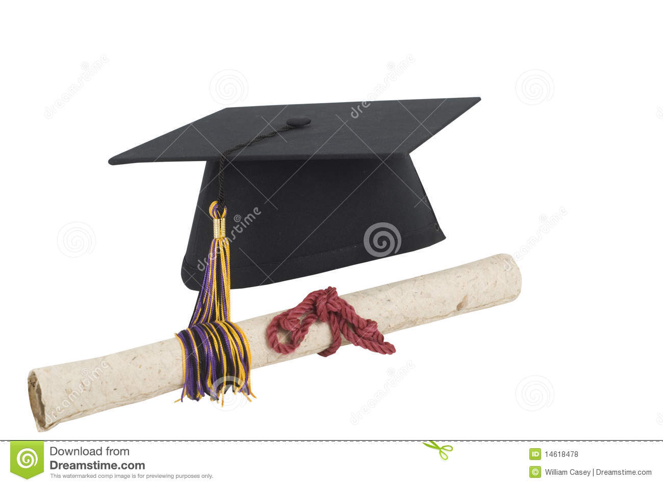 Isolated On White Graduation Cap And Diploma Royalty Free Stock Photos ...