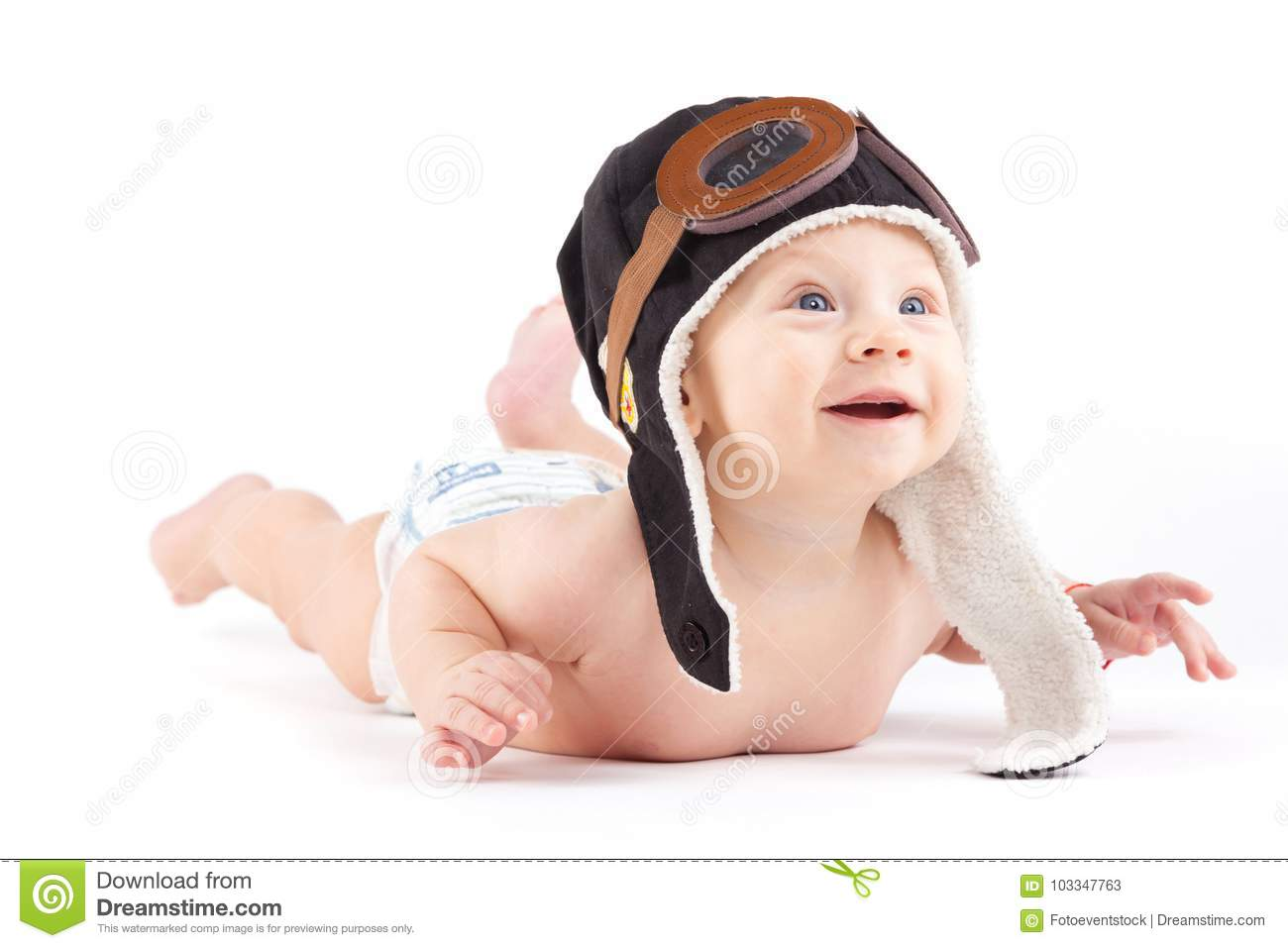 Cute Happy Baby Boy In Diaper And Pilot Hat Stock Image - Image of ... 25d9a97cdee