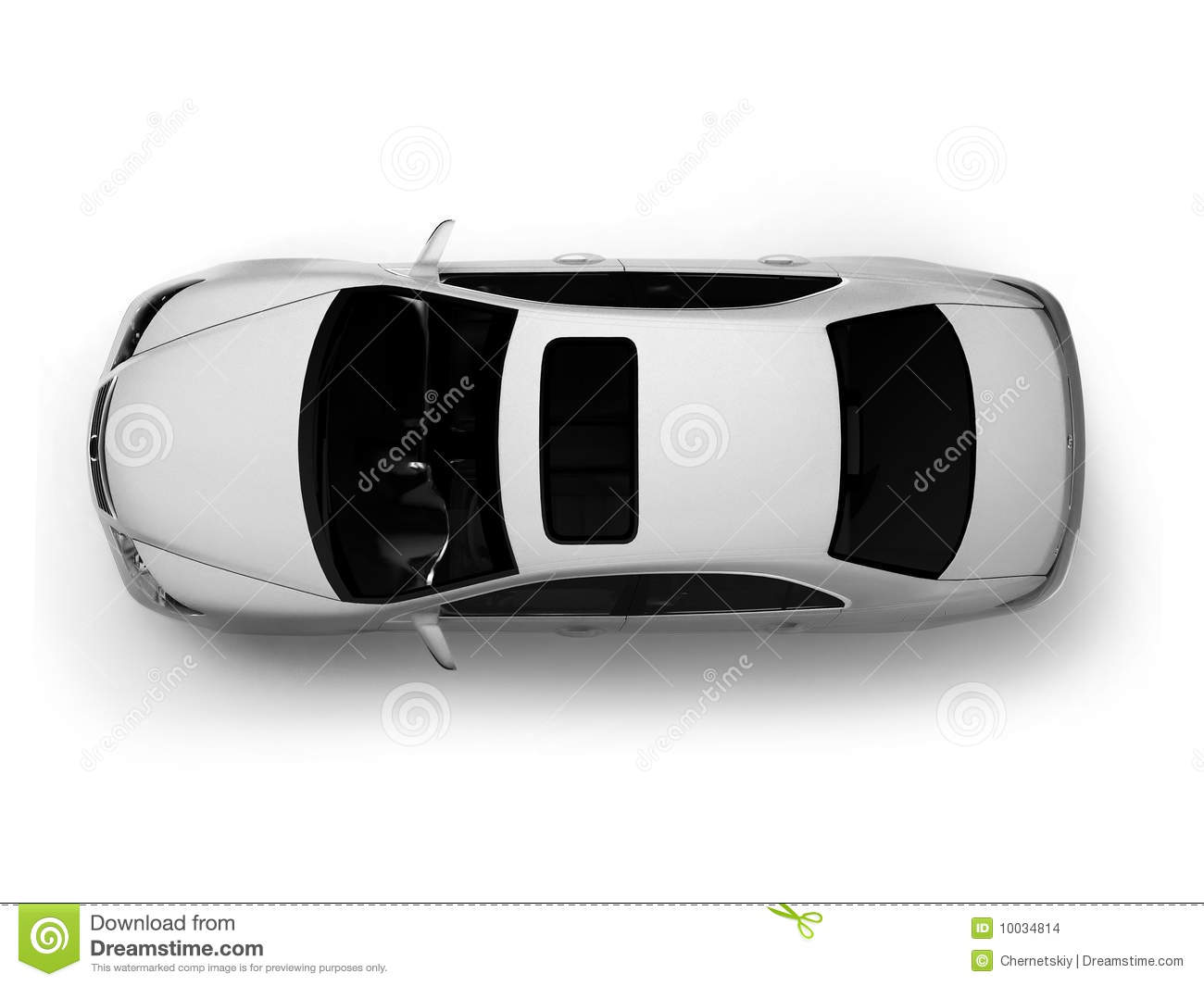 Isolated White Modern Car Top View Stock Illustration