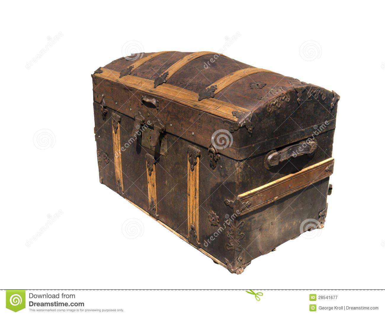 Isolated on white old wooden treasure chest royalty free for Storage treasures