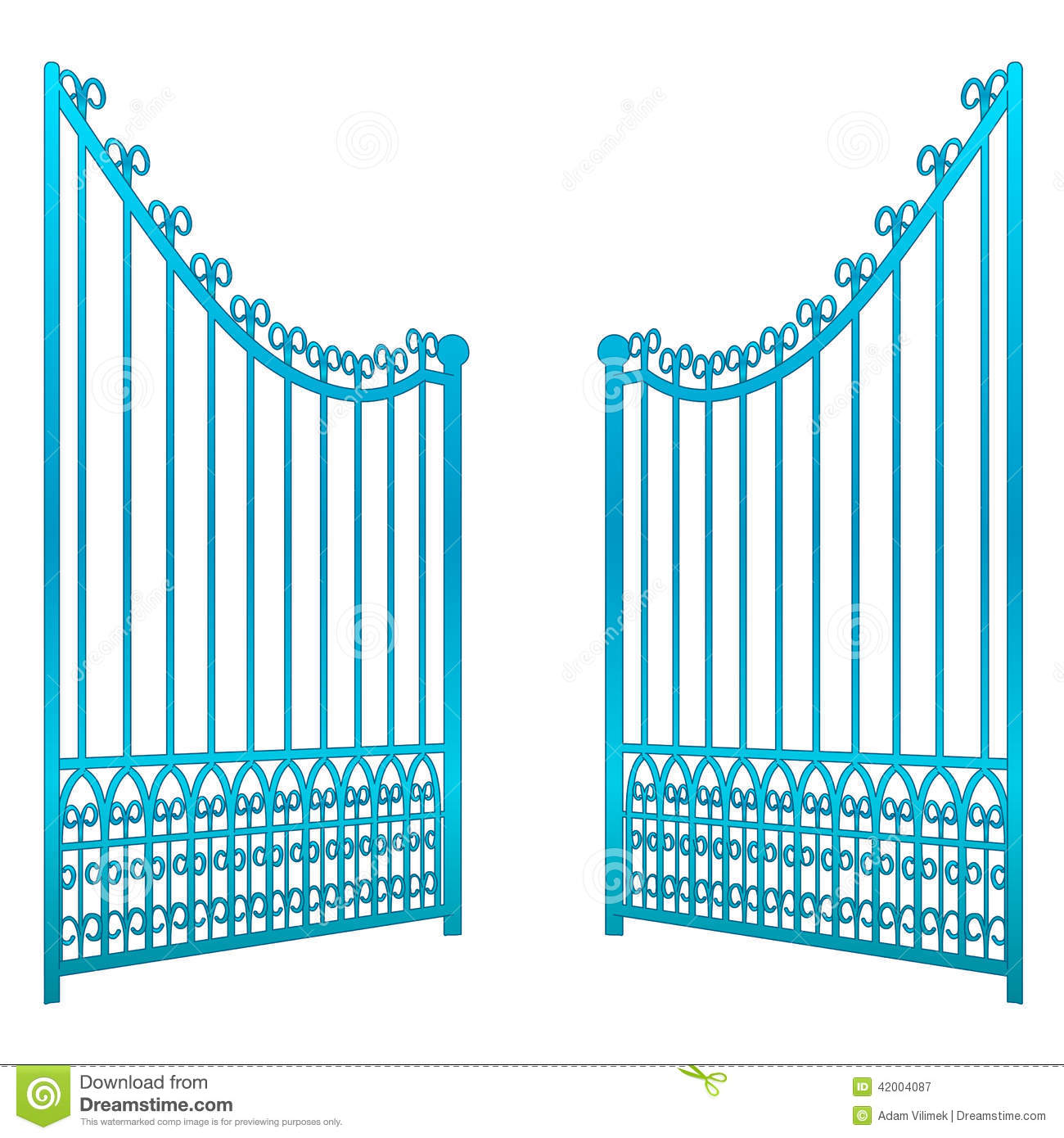Isolated on white open iron gate fence vector stock