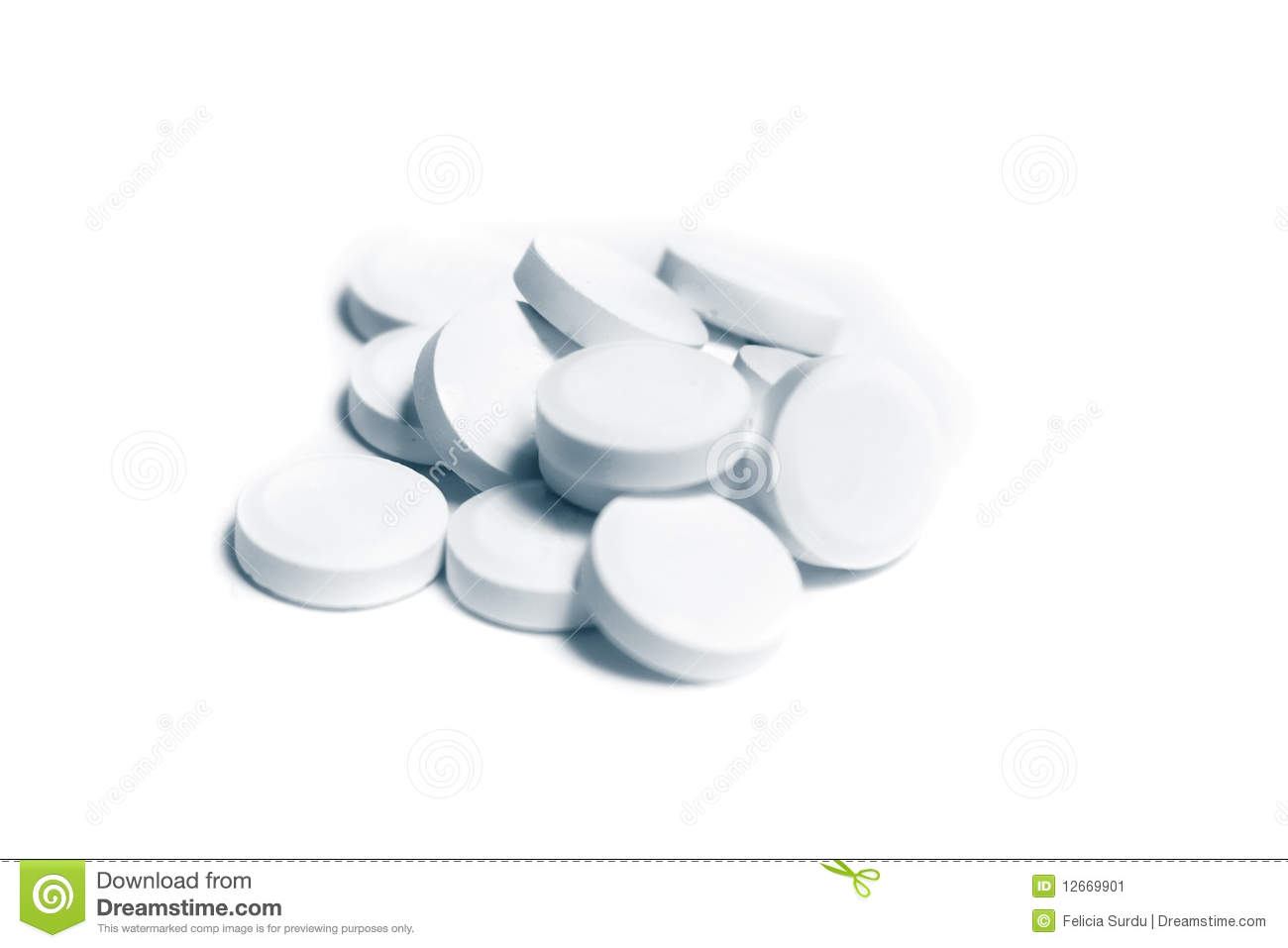 isolated white pills on white background stock image
