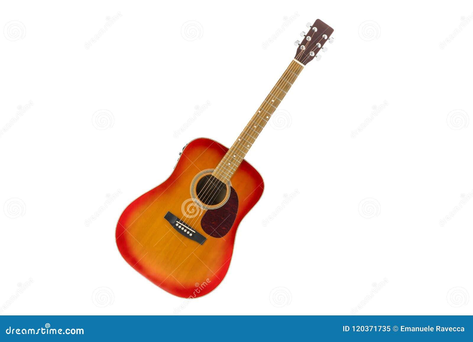 Cherry Sunburst Acoustic Guitar In White Background Stock Image