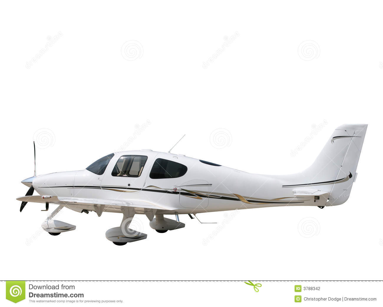 Isolated White Prop Plane Stock Photography Image 3788342