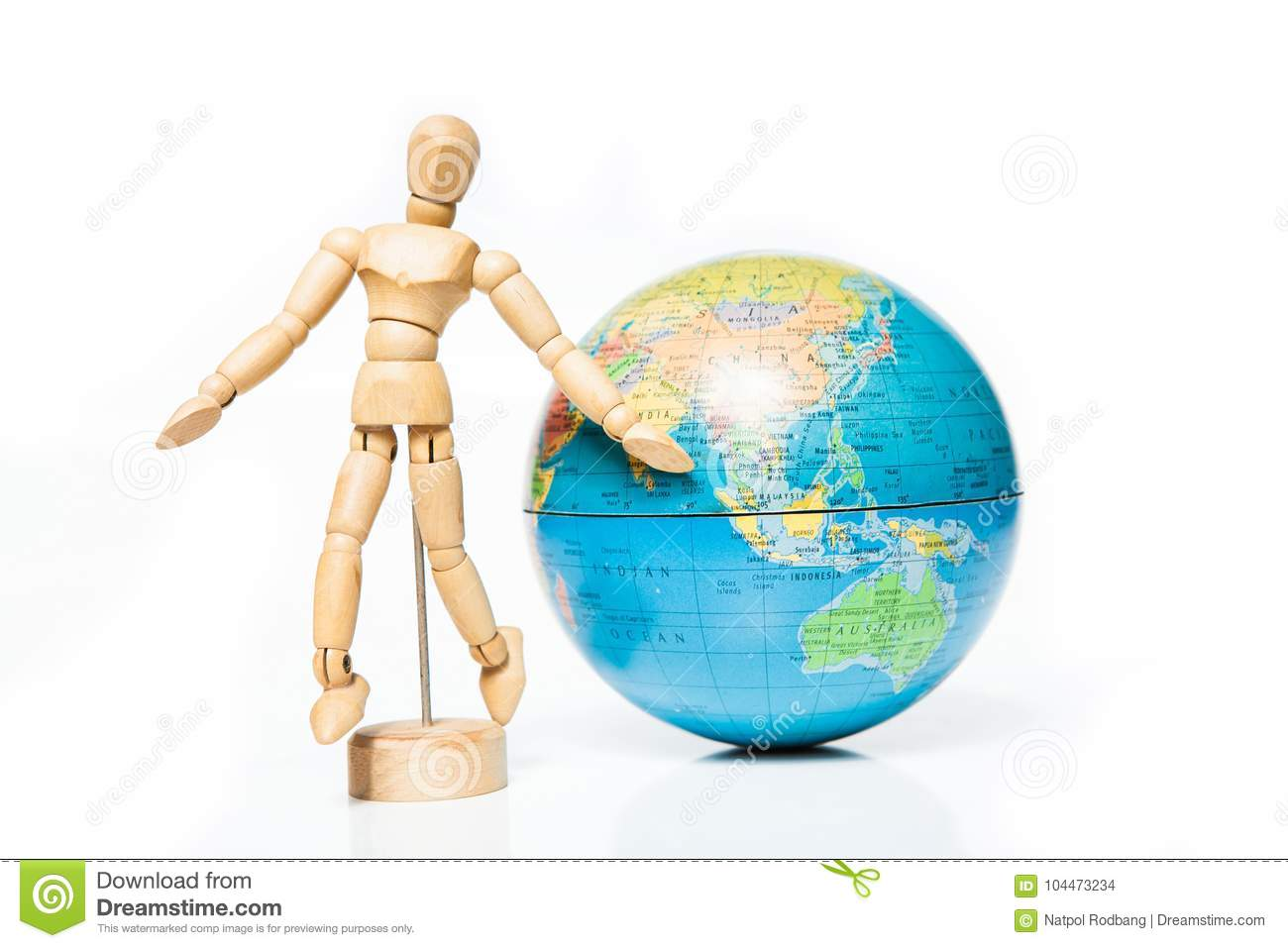 Download Isolated Wooden Figure With Globe On White Background,welcome To Stock Photo - Image of globe, male: 104473234