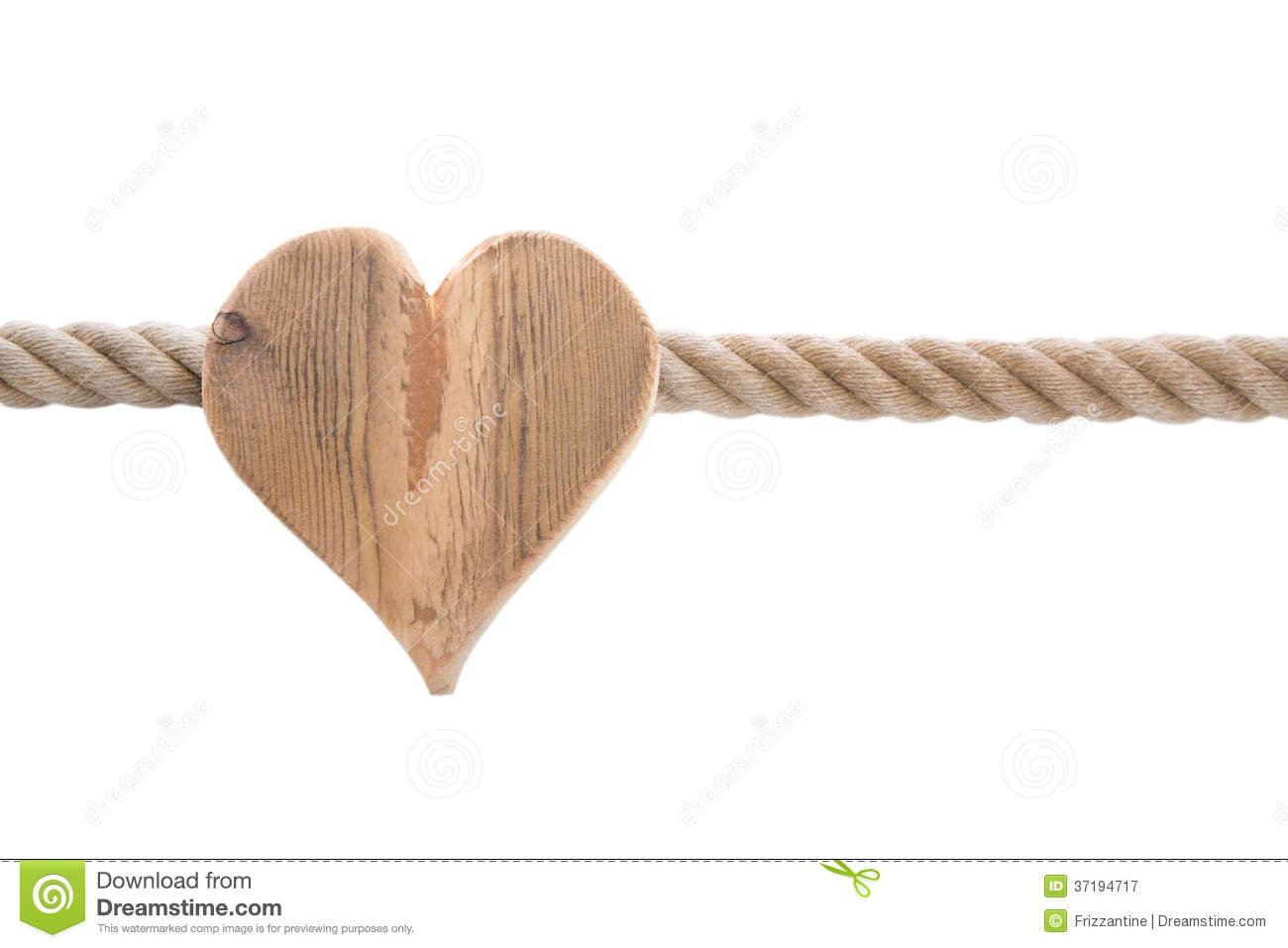 Isolated Wooden Heart With A Ship Rope Isolated On White