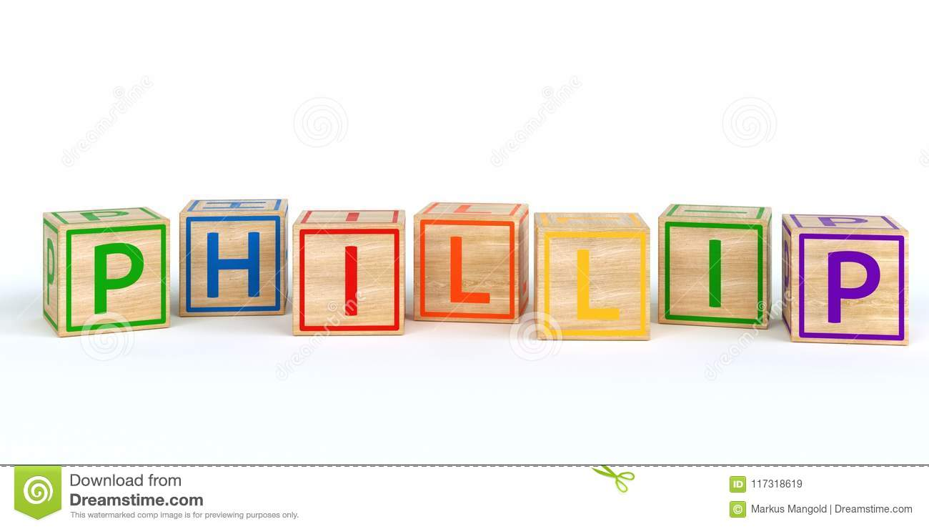 Isolated Wooden Toy Cubes With Letters Name Phillip