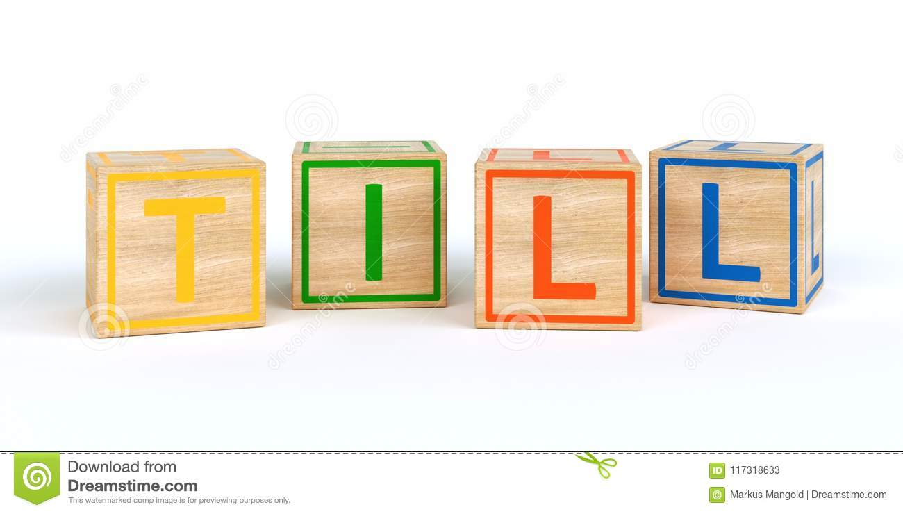 Isolated Wooden Toy Cubes With Letters Name Till