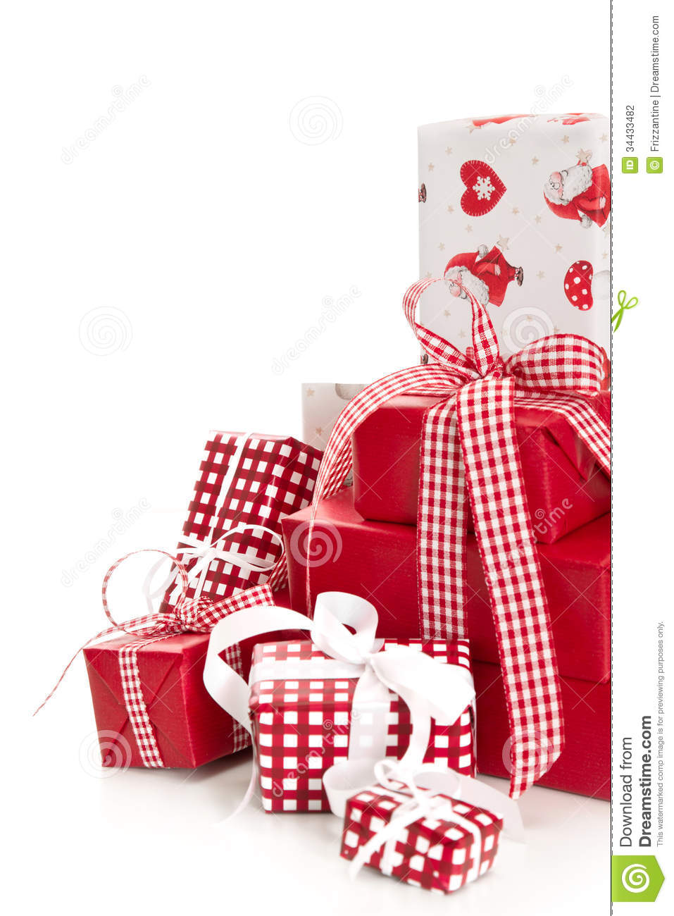 Isolated wrapped red christmas presents stock photo