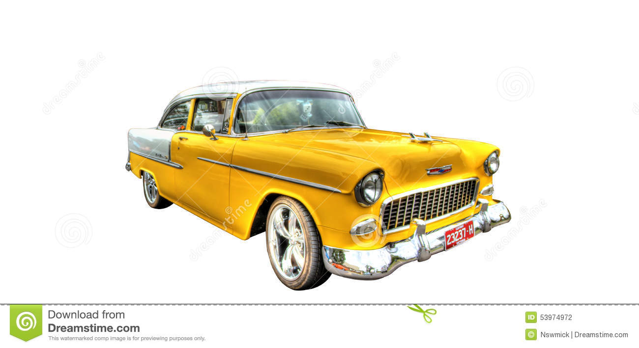 Isolated Yellow Chevy On White Background Editorial