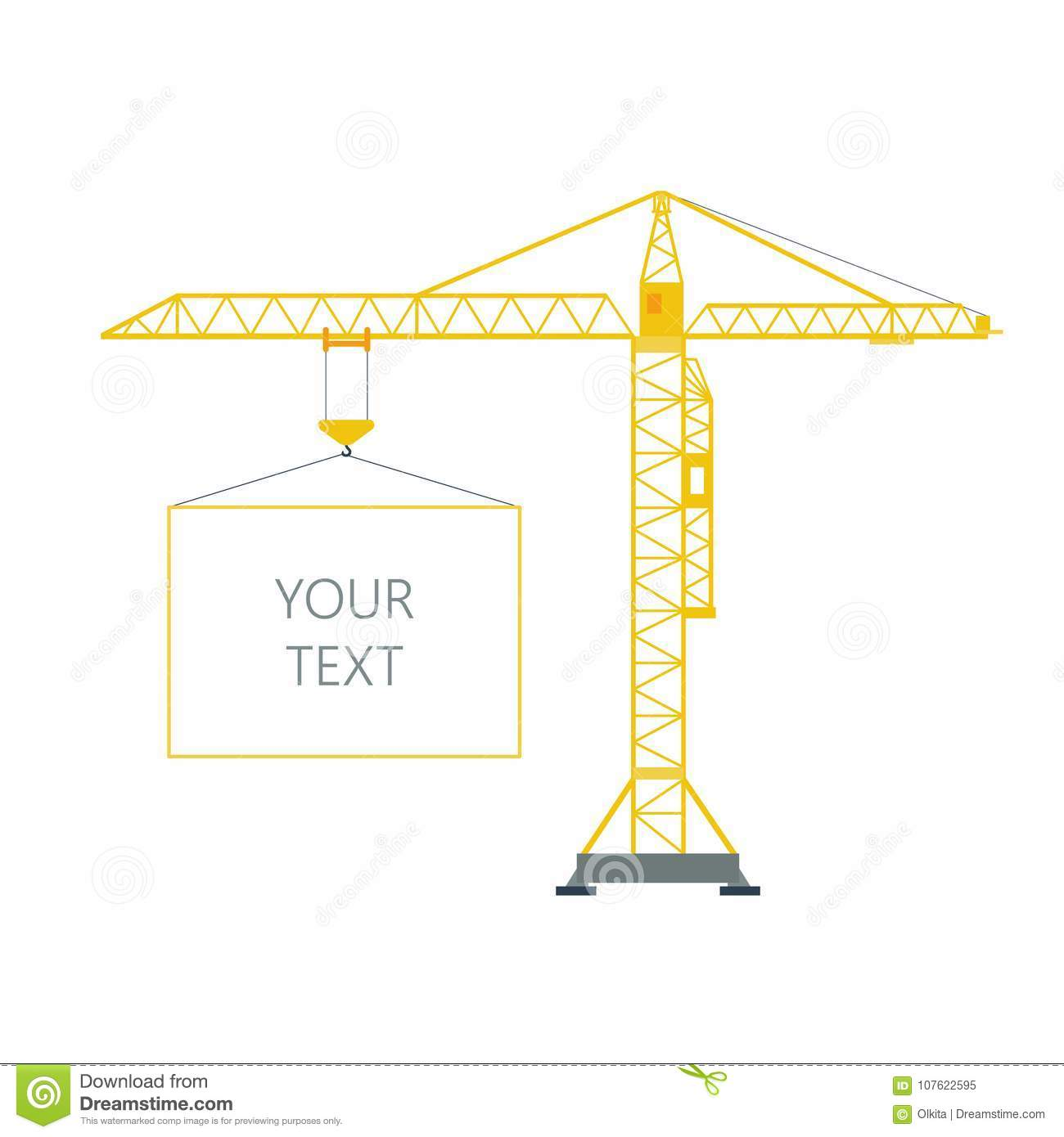 Isolated Yellow Tower Hoisting Crane With Frame, Border With Space ...