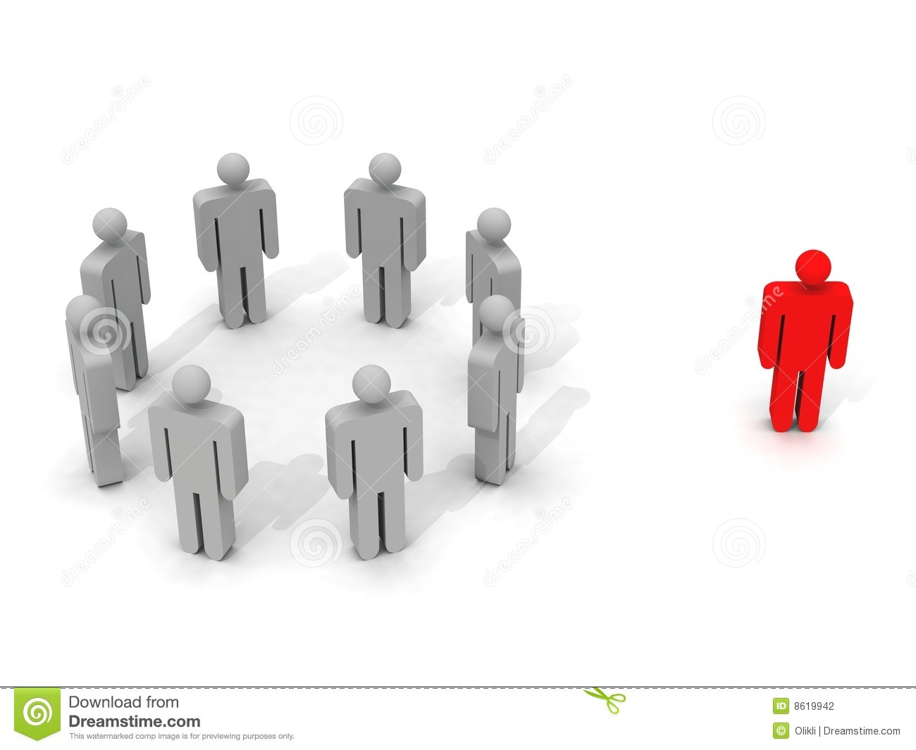 ... 3d picture of a person standing outside a group of other people