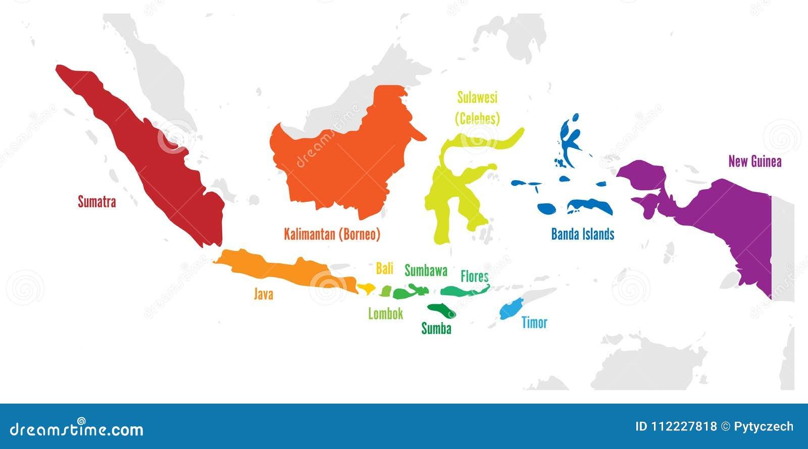 Cartina Indonesia Dettagliata.Isole Principali Dell Indonesia Mappa Di Vettore Con I Nomi Illustrazione Vettoriale Illustrazione Di Indonesia Indonesiano 112227818