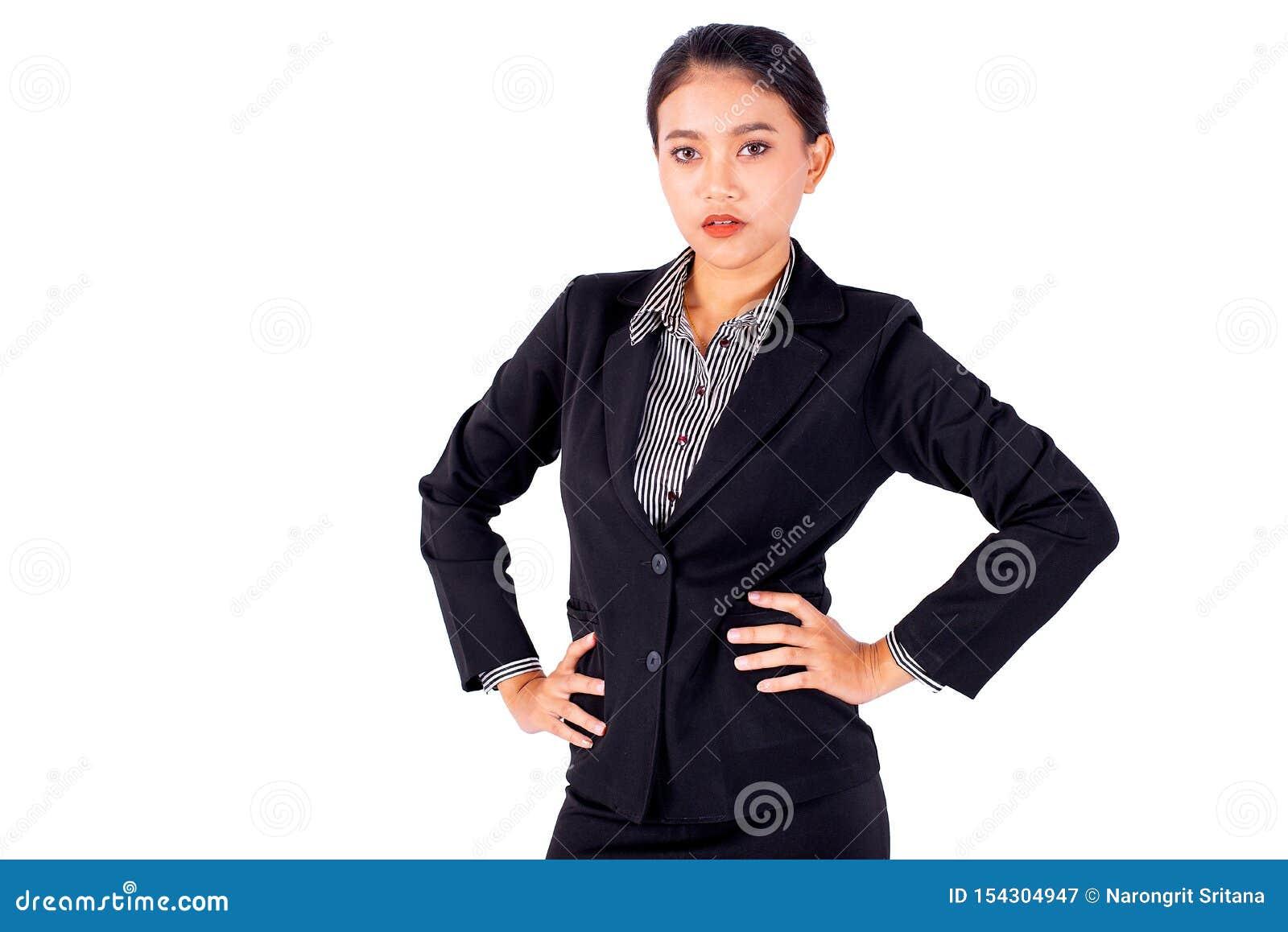Isoleer Aziatische mooie bedrijfsvrouw heeft een werking van taille en kijken vooruit op witte ruimte als achtergrond en exemplaa
