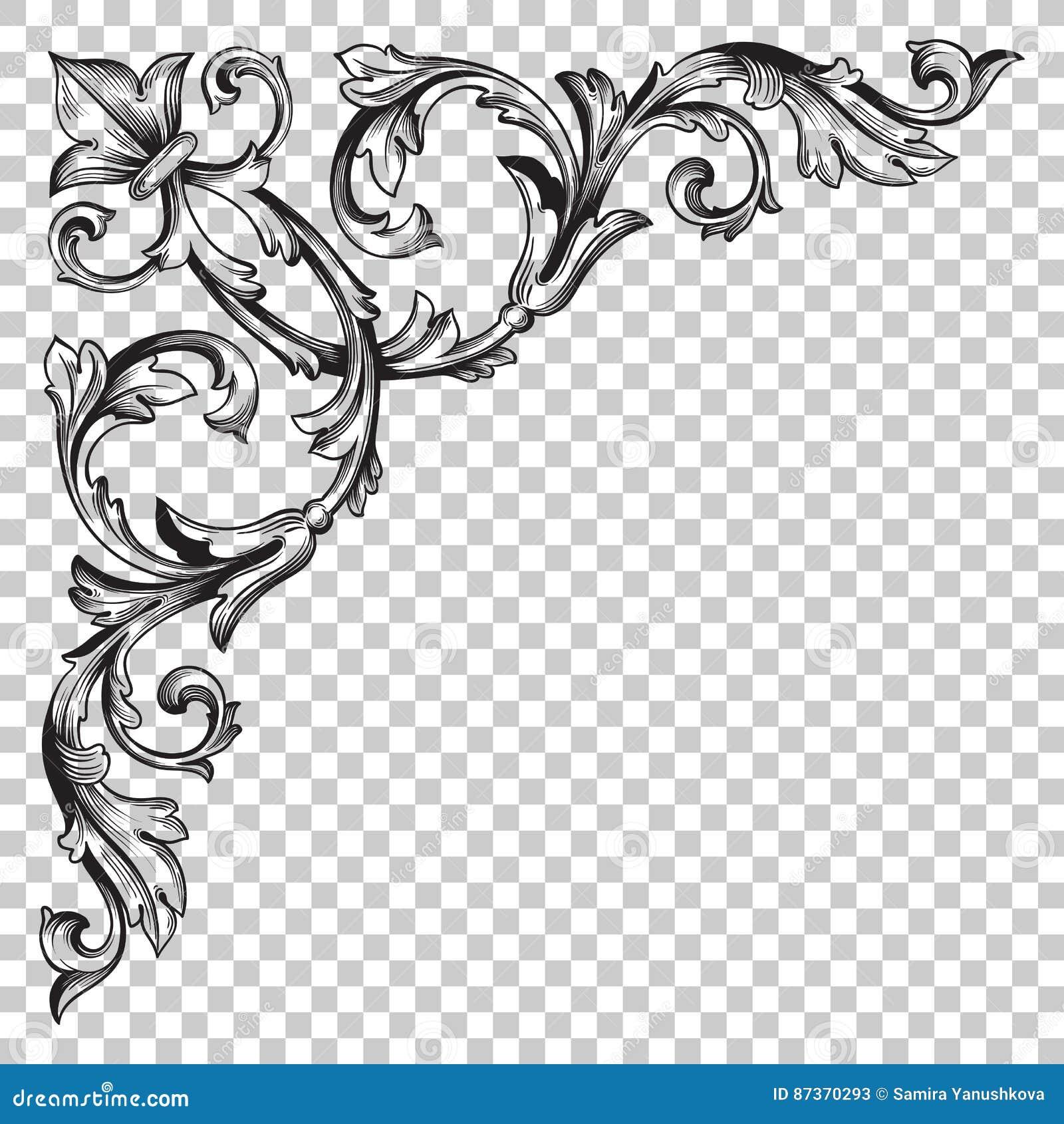 Isoleer hoekornament in barokke stijl