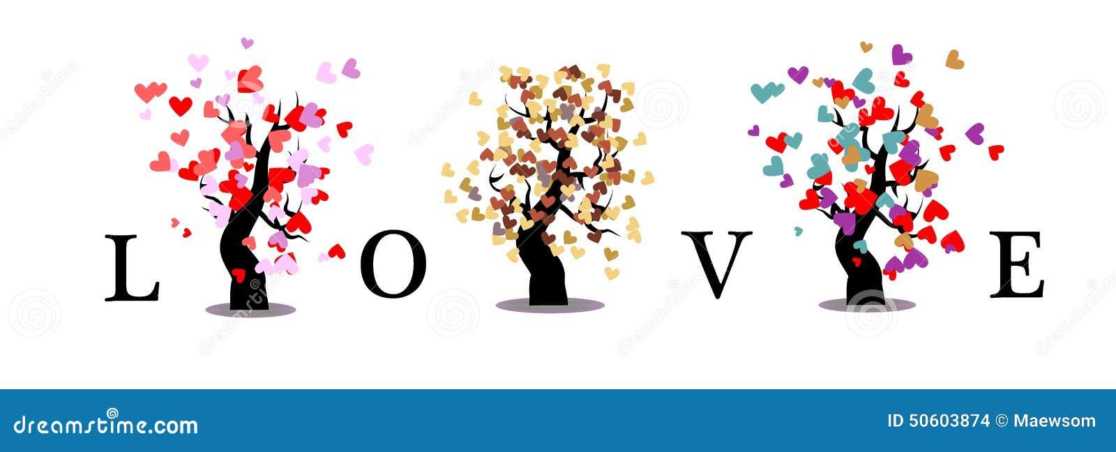 Isolerad bakgrund för förälskelseträd
