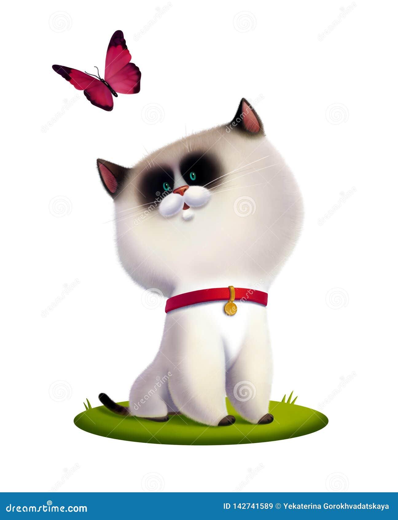 Isolerad barnillustration av den vita kattungen